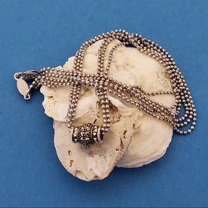 Judith Jack Sterling Bead Marcasite Necklace NWOT